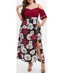 plus size cold shoulder floral print slit dress