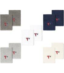 linum home 100% turkish cotton ethan 2-pc. embellished washcloth set bedding