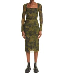 ganni floral camo long sleeve mesh dress, size 8 us in olive drab at nordstrom