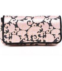 dries van noten pink black brocade clutch bag black/pink sz: m
