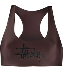 stussy sunset swim top - brown