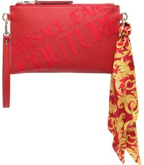 versace jeans couture logo print clutch bag - red