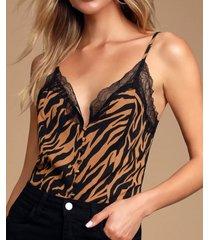 yoins correas de hombro ajustables zebra camisola de gasa con encaje a rayas