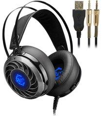 audífonos gamer, gs915 gaming auricular de juego profesional 7.1 sonido envolvente función de vibración usb sereo hifi auricular de juego bajo para pc gamer (negro)