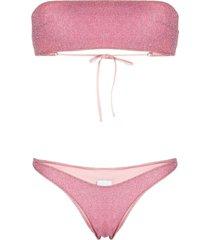 bikini lovers metallic effect bandeau bikini - pink