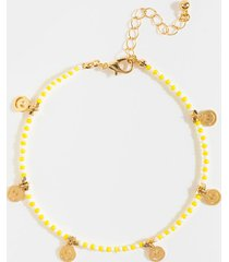 women's jamie beaded smiley charm anklet in yellow by francesca's - size: one size