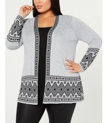 belldini plus size printed open-front cardigan