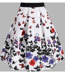 flower butterfly print midi skirt