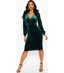 fluwelen bodycon midi jurk met lange mouwen, smaragd