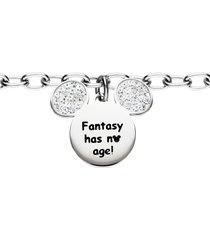 bracciale 'fantasy has no age!' in acciaio con topolino con strass per donna