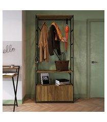 estante closet steel wood trevalla 2 portas 1 cabideiro preto/amadeirado