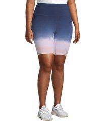 marc new york performance, plus size women's plus ombre bike shorts - midnight - size 2x (18-20)