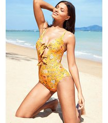 briony mindful non-wired plunge tie front tummy control one-piece swimsuit