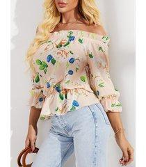 yoins blusa con hombros descubiertos y estampado floral al azar beige