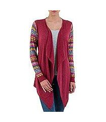cotton blend cardigan, 'pisac market in wine' (peru)