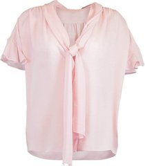 rose short sleeve tie front blouse