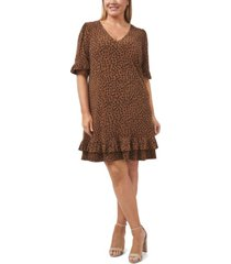 plus size ruffled leopard cluster dress