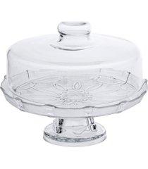 prato para bolo, boleira, porta bolo de vidro com tampa e base - kanui