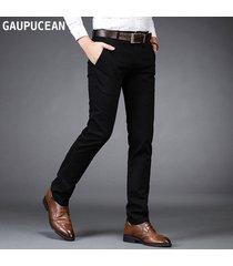 pantalones casual algodón formal gaupucean para hombre- negro