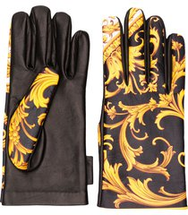 versace barocco print gloves - yellow