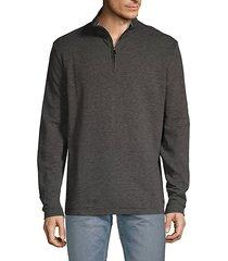 striped half-zip cotton blend sweater