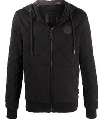philipp plein diamond-stitched zip-up hooded jacket - black
