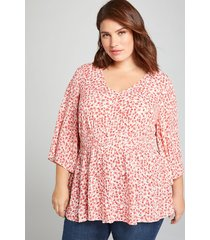 lane bryant women's gathered-waist button-front top 24 red floral print