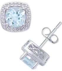 aqua topaz cushion stud earrings (2 ct. t.w.) in sterling silver