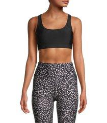 jessica simpson women's jenna crossback sports bra - black - size xl