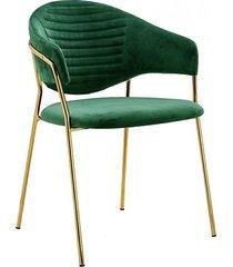 krzesło metalowe welurowe cindy ciemno zielone