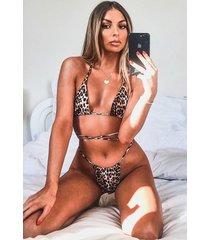 leopard itsy bitsy triangle bikini, brown