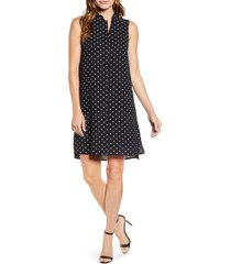anne klein dot print sleeveless trapeze dress, size x-large in anne black/anne white at nordstrom
