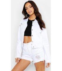 slim fit jean jacket, white
