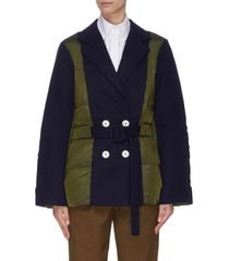 colourblock puffer panel belted blazer