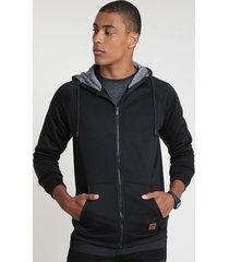 blusão masculino em moletom felpado com capuz e bolsos preto