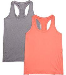 yogalicious women's 2-pack racerback tank tops - grey orange - size l