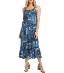 women's karen kane sleeveless ruffle hem maxi dress, size large - blue