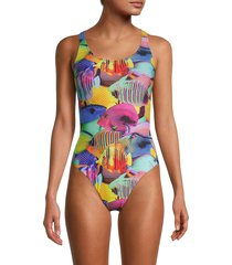 moschino women's fantasia varia printed one-piece swimsuit - size 1 (s)