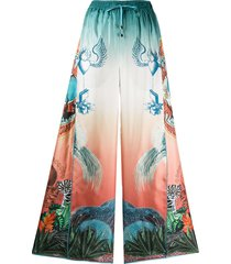 f.r.s for restless sleepers luna japanese print flared trousers - blue
