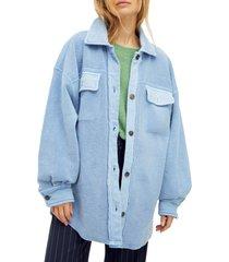 women's free people ruby jacket, size medium - blue