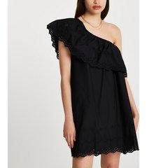 river island womens black one shoulder cut work mini dress