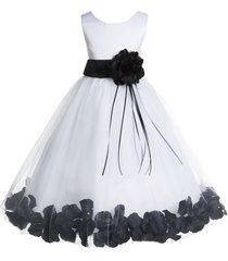 floral petals rose tulle white flower girl dress bridesmaid wedding pageant 007