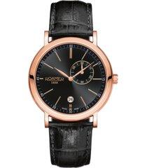 roamer men's 2 hands date 42 mm dress watch in steel case on strap