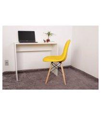 kit escrivaninha 90cm branca + 01 cadeira eiffel botonê - amarela