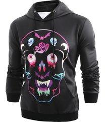 halloween colorful skull printed pullover hoodie