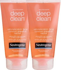kit 2 sabonetes facial neutrogena deep clean gel grapefruit 150g