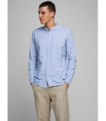 jack & jones heren overhemd licht poplin mao slim fit blauw
