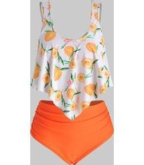 peach print strappy contrast plus size tankini set