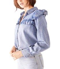 women's free people samantha ruffle button-up shirt, size large - blue