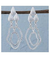 sterling silver dangle earrings, 'lake droplets' (peru)